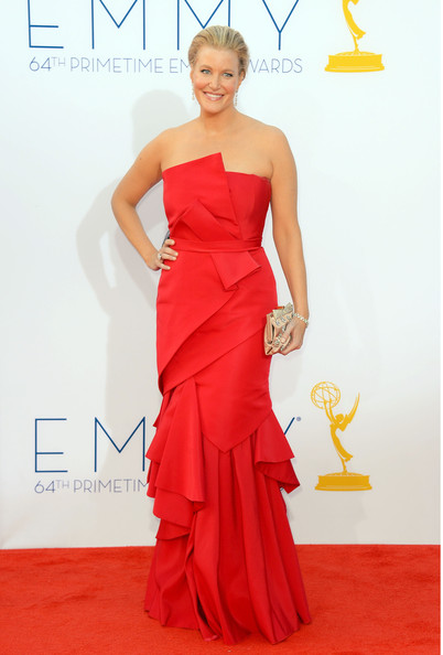 Anna Gunn Frame Clutch [dress,clothing,fashion model,gown,carpet,red carpet,shoulder,bridal party dress,strapless dress,red,arrivals,anna gunn,california,los angeles,nokia theatre l.a. live,primetime emmy awards]