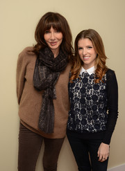 Anna Kendrick looked adorable in a blue lace-front sweater during her Sundance portrait session.