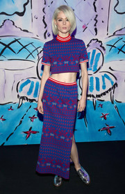 Coco Rocha completed her vibrant look with a matching maxi skirt.