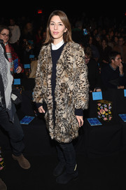 Sofia Coppola looked ultra luxe in an animal-print fur coat during the Anna Sui fashion show.