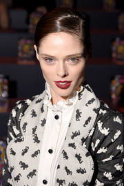 Coco Rocha sported a slicked-down ponytail at the Anna Sui fashion show.