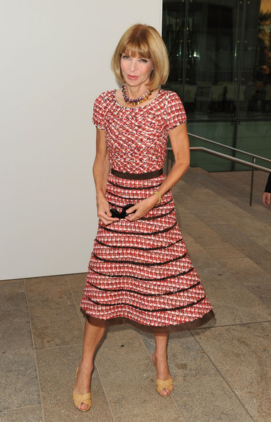 Anna Wintour Cocktail Dress [night out: the show - arrivals,clothing,dress,day dress,shoulder,pink,fashion,blond,leg,footwear,pattern,editor-in-chief,anna wintour,fashion,new york city,lincoln center,vogue]