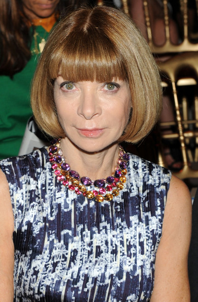Anna Wintour Bob [hair,hairstyle,blond,bangs,bob cut,layered hair,brown hair,hair coloring,long hair,feathered hair,salvatore ferragamo,anna wintour,front row,milan fashion week womenswear spring,milan,italy,fashion show,milan womenswear fashion week,salvatore ferragamo spring]