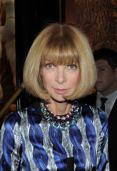 Anna Wintour Bob [hair,hairstyle,blond,face,bangs,bob cut,hair coloring,layered hair,long hair,feathered hair,anna wintour,90 prince street,new york city,montcler,vogue cocktail party]