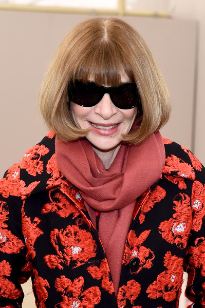 Anna Wintour Bob [tory burch fall winter 2018 fashion show,eyewear,hair,glasses,hairstyle,sunglasses,blond,bangs,lip,cool,vision care,anna wintour,front row,tory burch - backstage,new york city,bridge market,new york fashion week]