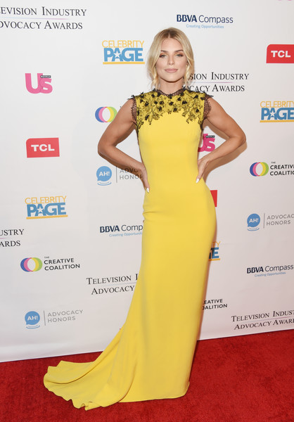 AnnaLynne McCord Fishtail Dress [red carpet,dress,clothing,carpet,yellow,fashion model,hairstyle,flooring,gown,shoulder,arrivals,annalynne mccord,sofitel los angeles,california,beverly hills,creative coalition,television industry advocacy awards]