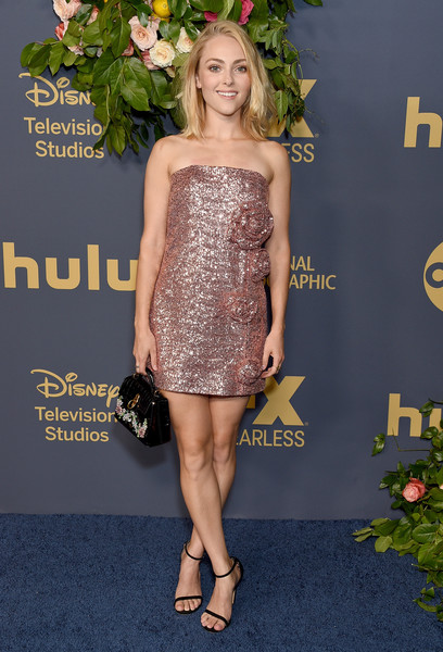 AnnaSophia Robb Strapless Dress [clothing,dress,shoulder,cocktail dress,footwear,carpet,red carpet,fashion,joint,hairstyle,arrivals,annasophia robb,emmy,los angeles,california,walt disney television,party,walt disney television emmy party]