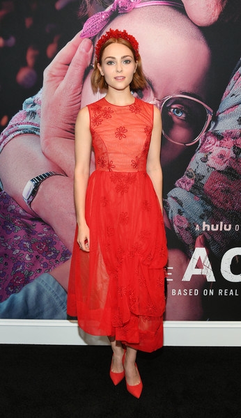 AnnaSophia Robb Pumps [the act,fashion model,clothing,dress,red,cocktail dress,premiere,pink,fashion,peach,fashion design,annasophia robb,hulu,new york city,the whitby hotel,new york premiere]