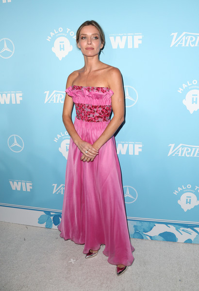 Annabelle Wallis Strapless Dress [variety and women in film,variety and women in film,dress,clothing,shoulder,strapless dress,pink,fashion,gown,cocktail dress,joint,haute couture,annabelle wallis,arrivals,west hollywood,california,gracias madre,2017 pre-emmy celebration]