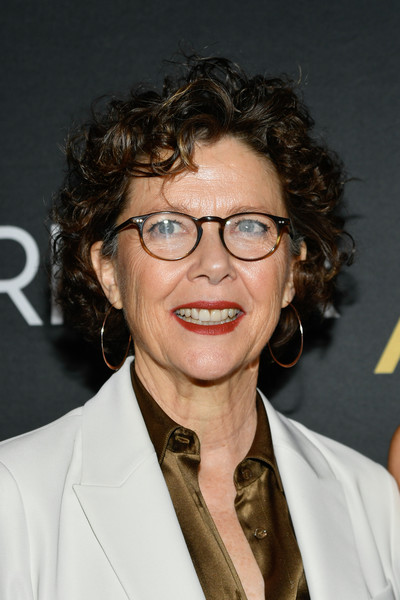 Annette Bening Curled Out Bob [burn this,hair,eyewear,glasses,hairstyle,chin,forehead,vision care,long hair,smile,brown hair,annette bening,hudson theatre,new york city,opening night]