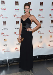 Ana Beatriz Barros oozed sophistication in a multi-textured black evening dress at the Brazil Foundation Gala.