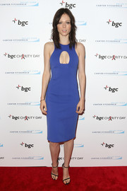 Coco Rocha brought a dose of sexiness to the Cantor Fitzgerald Charity Day event with this fitted blue cutout dress.