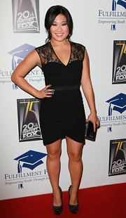 """Glee"" star Jenna Ushkowitz dazzled in black studded platform pumps by Ruthie Davis. The footwear gave an edge to an otherwise sweet lace dress."