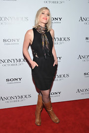 Natasha Bedingfield attended a screening of 'Anonymous' wearing a pair of tan leather mid-calf boots.