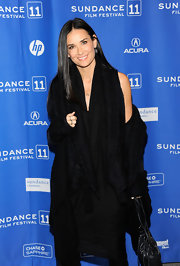 Demi dons a little black dress with many layers at the Sundance Film Festival.