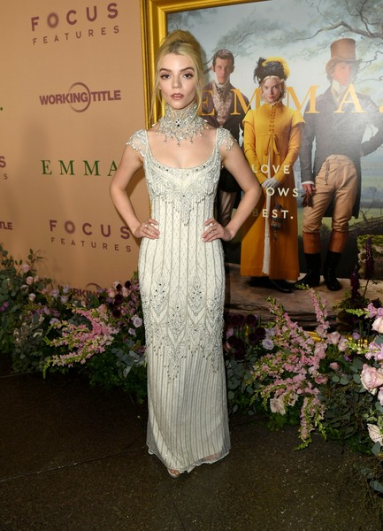 Anya Taylor-Joy Beaded Dress [emma,red carpet,dress,gown,clothing,fashion,lady,beauty,formal wear,shoulder,haute couture,blond,anya taylor-joy,california,los angeles,dga theater,focus features,premiere,premiere,wedding dress,dga theater complex,dress,gown,cocktail dress,prom,celebrity,lili gaufrette - girl - taffeta dress]