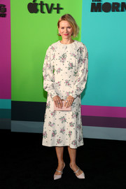 Naomi Watts went the demure route in a floral beaded midi dress with a lace collar at the world premiere of Apple TV+'s 'The Morning Show.'