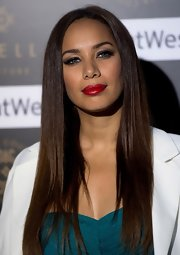 Leona Lewis wore her ultra-long tresses straight and polished for the Ariella Couture fashion show in London.