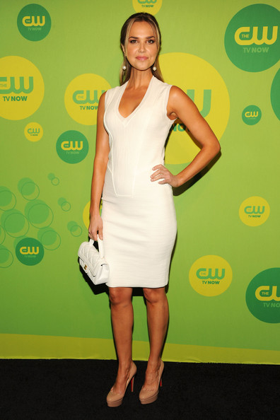 Arielle Kebbel Cocktail Dress [clothing,cocktail dress,dress,shoulder,carpet,fashion,fashion model,joint,red carpet,footwear,arielle kebbel,upfront presentation,new york,the london hotel,cw network]