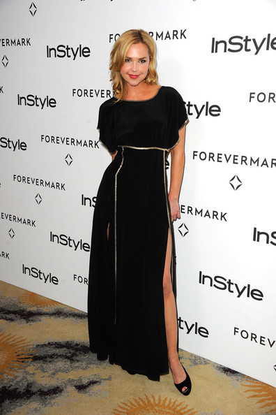Arielle Kebbel Peep Toe Pumps [dress,clothing,shoulder,little black dress,fashion,cocktail dress,premiere,event,flooring,long hair,arielle kebbel,forevermark,a promise of beauty and brilliance,golden globe awards,beverly hills hotel,california,instyle,event]