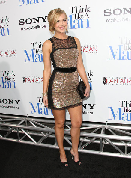 Arielle Kebbel Peep Toe Pumps [think like a man,clothing,dress,cocktail dress,fashion,shoulder,hairstyle,fashion model,premiere,joint,footwear,arielle kebbel,arrivals,arclight cinemas cinerama dome,california,hollywood,screen gems,premiere of screen gems]