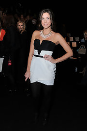 Erin looked sweet chic in a black and white strapless cocktail dress for New York Fashion Week.