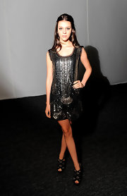 Nicola Peltz exuded vintage elegance in her flapper-style beaded dress during Mercedes Benz Fashion Week.