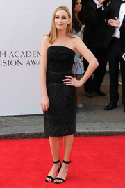 Laura Carmichael chose a black strapless dress with a sparkly skirt for the Arqiva British Academy Television Awards.