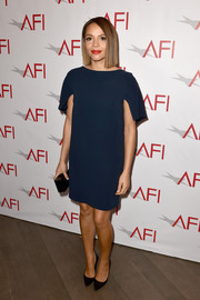 Carmen Ejogo went for simple sophistication in a navy Osman shift dress during the AFI Awards.