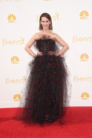 Sarah Paulson's Armani Prive strapless gown at the Emmys was a playful burst of black mesh and red polka dots.