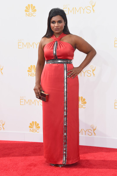 More Pics of Mindy Kaling Halter Dress (1 of 4) - Mindy Kaling Lookbook - StyleBistro [red carpet,clothing,carpet,dress,red,flooring,pink,hairstyle,gown,fashion,arrivals,mindy kaling,part,california,los angeles,nokia theatre l.a. live,primetime emmy awards]