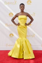 Samira Wiley brought a jolt of color to the Emmys red carpet with this strapless yellow mermaid gown.