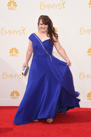 Jamie Brewer got all glammed up in a cobalt one-shoulder gown for the Emmys.