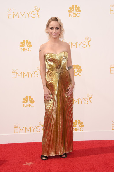 Taryn Manning channeled Old Hollywood with this strapless gold lame gown during the Emmys.