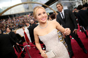 Kristen Bell smartly accessorized with a diamond statement necklace.