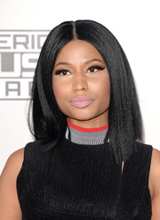 Nicki Minaj finished off her look with a pink pout.