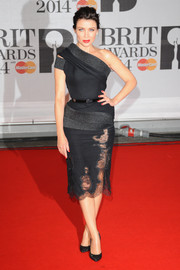 Dannii Minogue looked sublime at the Brit Awards in a J'Aton Couture one-shoulder dress with sultry lace inserts on the skirt.