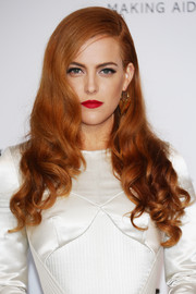 Bold red lipstick gave Riley Keough's look an ultra-glam finish.