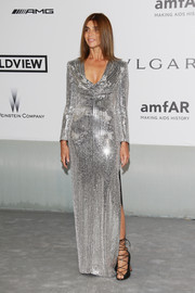 Carine Roitfeld went for total sparkle in a fully sequined Saint Laurent gown during the Cinema Against AIDS Gala.