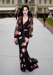 Dita Von Teese was boudoir-chic in a Blumarine rose-print gown during the Cinema Against AIDS Gala.