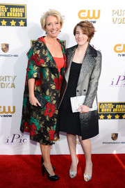 Emma Thompson attended the Critics' Choice Awards looking chic and Christmassy in her vintage Anne Verdi floral coat.