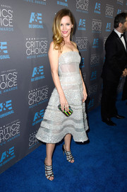 Leslie Mann shimmered in a strapless number with unique sheer panels at the Critics' Choice Movie Awards.