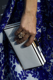 Diane Krugar went for a lovely white box clutch by Amanda Wakely to accessorize her outfit.