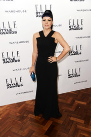 Lily Allen oozed modern elegance at the Elle Style Awards in a black Roland Mouret gown with a geometric neckline.