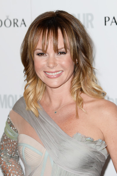 More Pics of Amanda Holden Long Wavy Cut with Bangs (1 of 9) - Amanda Holden Lookbook - StyleBistro [hair,hairstyle,face,blond,shoulder,layered hair,brown hair,chin,eyebrow,lip,england,london,berkeley square gardens,glamour women of the year awards,arrivals,amanda holden]