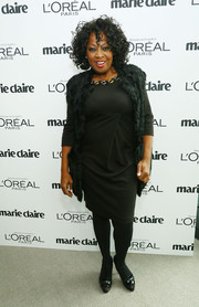 Star Jones layered a black fur vest over her LBD for a chicer finish at the Marie Claire Power Women Lunch.