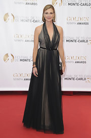 Brenda Strong chose a black tulle gown for her look at the Monte Carlo TV Festival Closing Ceremonies.