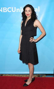 Joanne Kelly opted for a simple sleeveless LBD when she attended NBCUniversal's Summer Press Day.