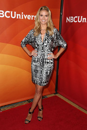 Heidi Klum oozed sophistication in a monochrome animal-print dress with dolman sleeves during NBCUniversal's Summer Press Day.