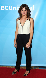 Stephanie Szostak look hip in her black-and-white jumpsuit during NBCUniversal's Summer Press Day.
